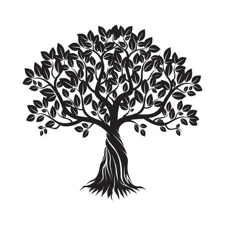 Black Tree and Background. Vector Illustration. Illustration