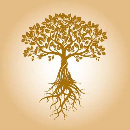 Golden Tree and Background. Vector Illustration.