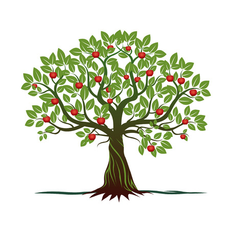 Green Tree Apple. Vector Illustration.