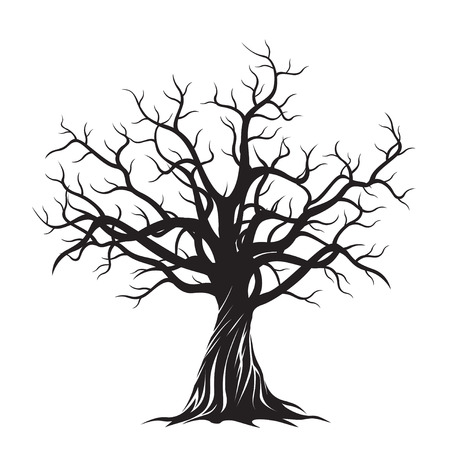 design drawing: Black Tree. Vector Illustration.