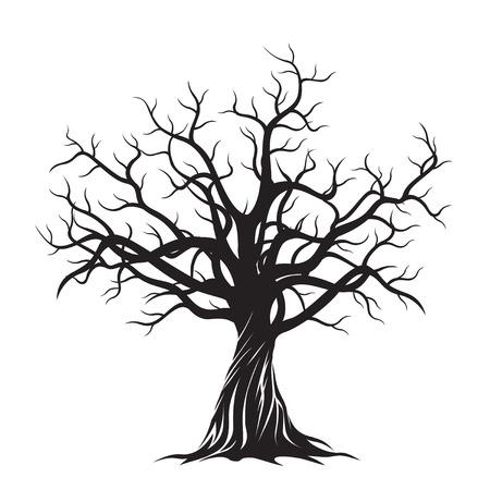 old drawing: Black Tree. Vector Illustration.