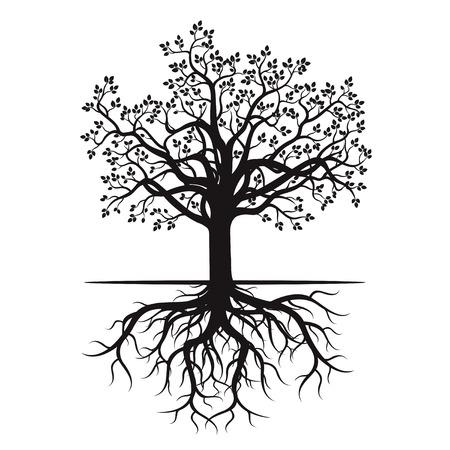 黒い木と根。ベクトルの図。