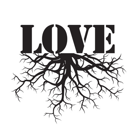 tree root: Black Text LOVE and Roots. Vector Illustration