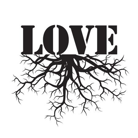 planta con raiz: Negro del texto del amor y raíces. Ilustración del vector