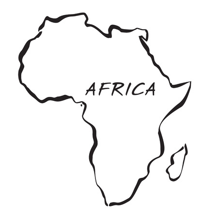 Black drawing maps of Africa. Vector Illustration. Ilustrace