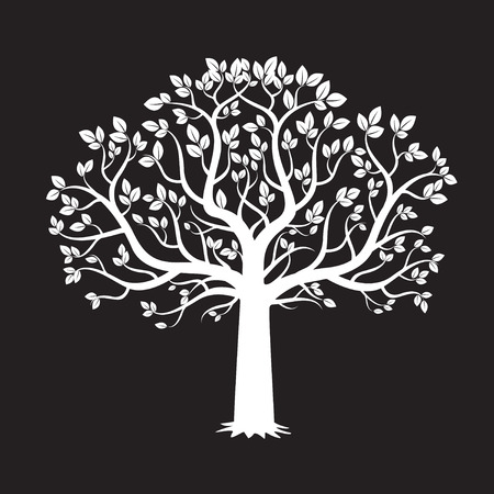 Tree White and Black Background. Vector Illustration.