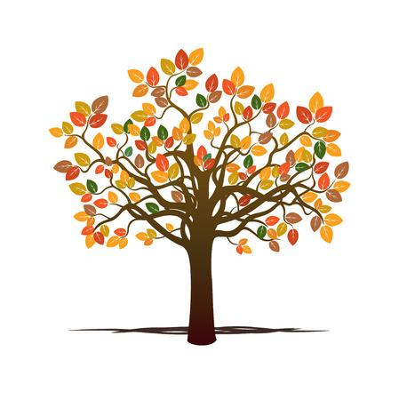 Couleur Autumn Tree. Vector Illustration. Vecteurs