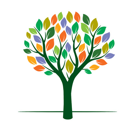 Color Tree and Leafs. Vector Illustration. Illustration