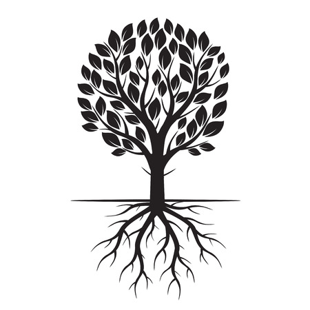 黒いエコ木と根。ベクトルの図。