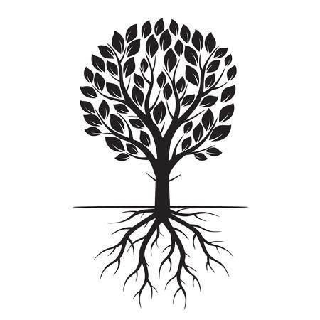 Black Eco Boom en wortels. Vector Illustratie.