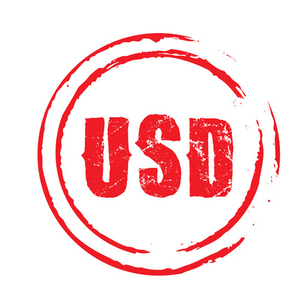 usd: Red stamp and text USD. Vector Illustration.