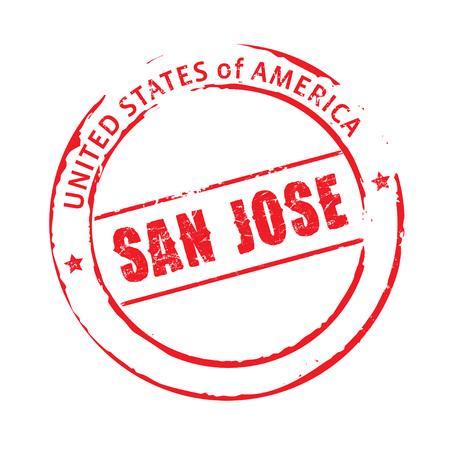 san jose: Red vector stamp San Jose Illustration