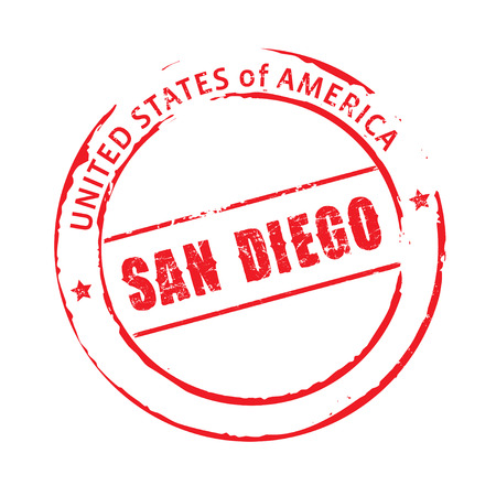 san diego: Red vector stamp San Diego