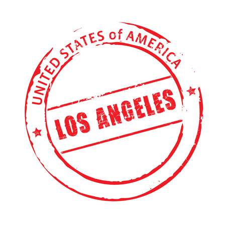 angeles: Red vector stamp Los Angeles Illustration