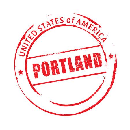 portland: Red vector stamp Portland Illustration