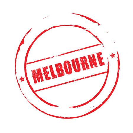 melbourne: Red grunge stamp MELBOURNE Illustration