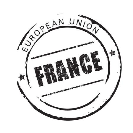 france stamp: Black vector stamp FRANCE