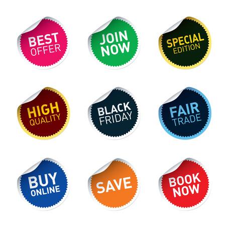 sticker design: Set of color vector stickers