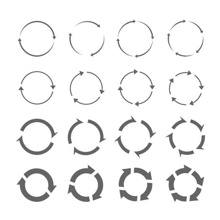 turning point: Set of gray vector circle arrows