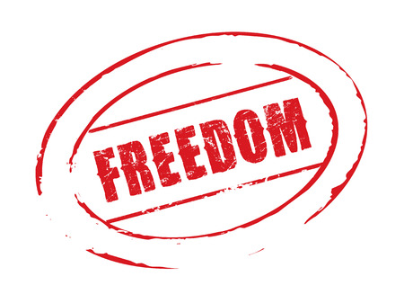 freedom: Red vector stamp FREEDOM