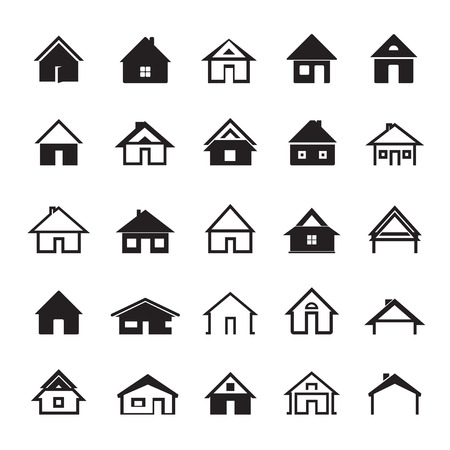graphic icon: Set of Black Icons of Houses