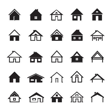Set van zwarte pictogrammen van Huizen Stock Illustratie