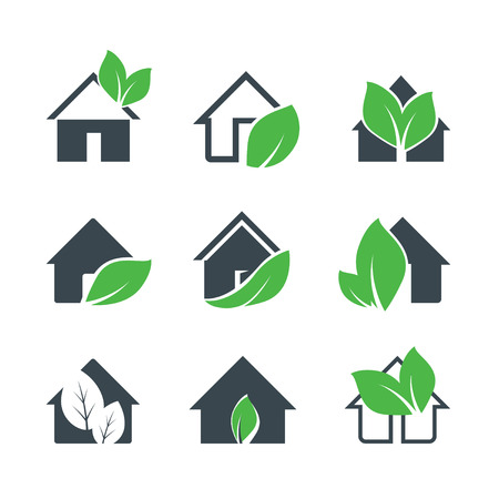 Set of Icons of Grey Houses and Leafs