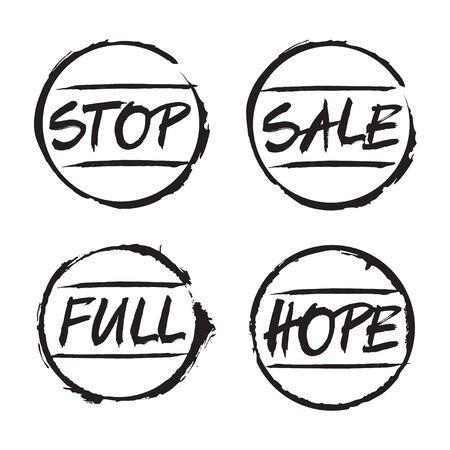 linkedin: Set of black stamps STOP SALE, FULL HOPE. Vector Illustration