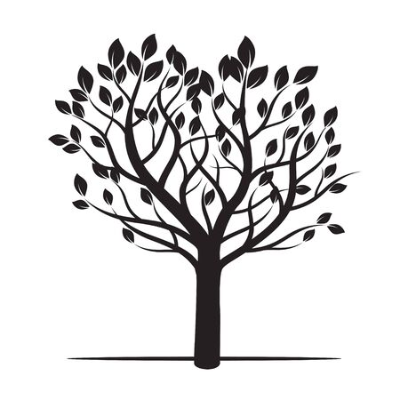 leafs: Black Tree and Leafs. Vector Illustration and Graphic Element. Illustration