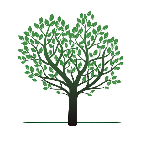 leafs: Tree and Green Leafs. Vector Illustration and Graphic Element.