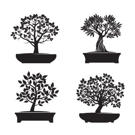 Set van Black Bonsai Bomen. Vector Illustratie.