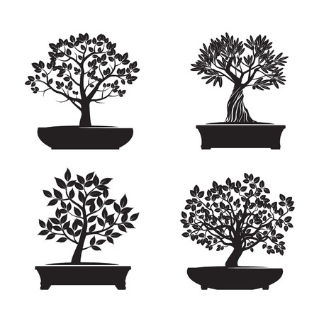 Set van Black Bonsai Bomen. Vector Illustratie. Stock Illustratie