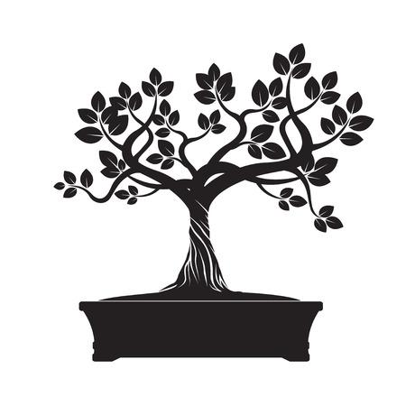 Black Tree Bonsai. Vector Illustratie.