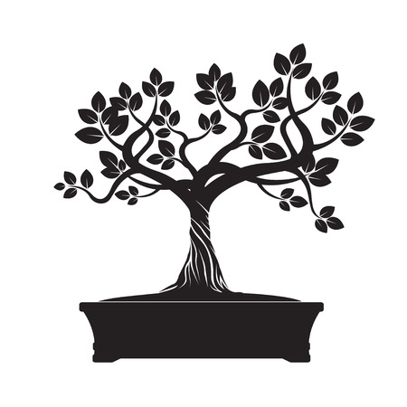 Black Tree Bonsai. Vector Illustratie.