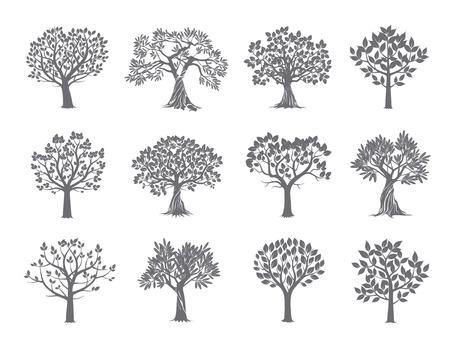 Set van Grey Trees. Vector Illustratie.