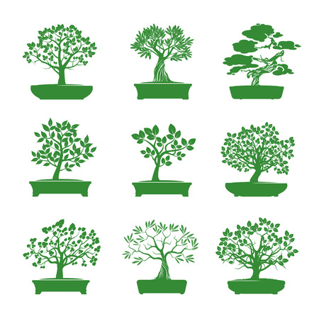 bonsai: Set of Green Bonsai Trees. Vector Illustration.