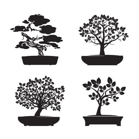Set of Black Bonsai Trees. Vector Illustration.