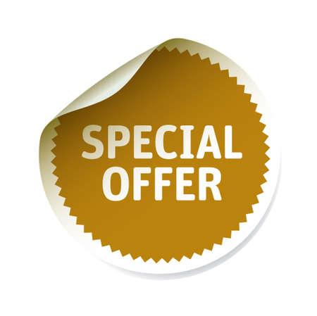 tab: Golden sticker special offer. Vector Illustration. Illustration
