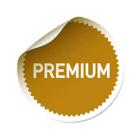 Golden sticker Premium. Vector Illustration.