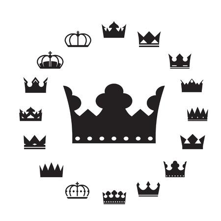 coronation: Set of Black Crowns. Vector Illustration.
