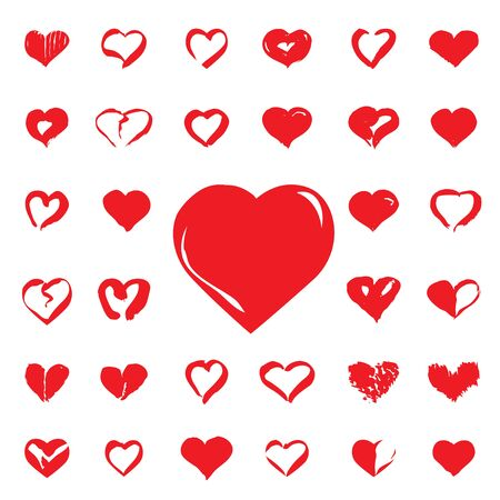 sketched shapes: Set of red Hearts drawing. Vector Icons.