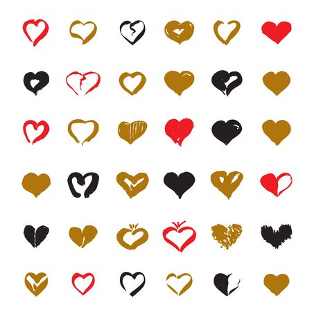 sketched shapes: Set of drawing Hearts. Color Vector Icons.
