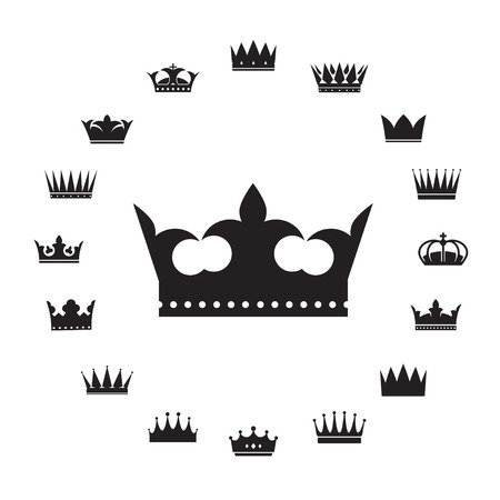 aristocracy: Set of Crowns. Black Vector Icons.
