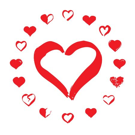 Set of Hearts. Red Vector Icons.