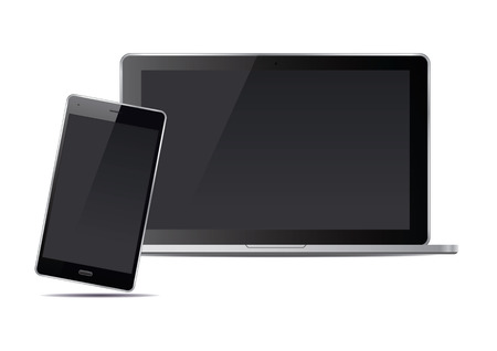 palmtop: Laptop and smart phone. Vector Illustration.
