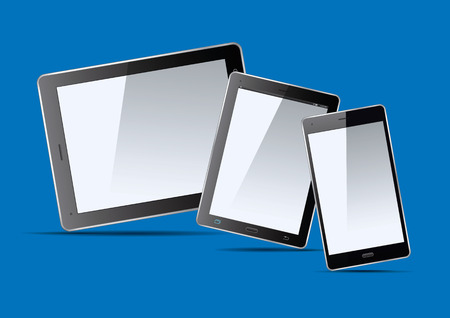 palmtop: Set of black tablets and smart phone. Vector Illustration.