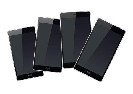 palmtop: Set of black smart phones. Vector Illustration.