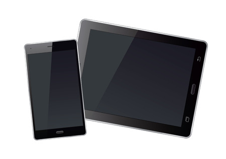 palmtop: Tablet and smart phone. Vector Illustration.
