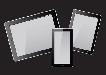 personal data assistant: Set of tablets on black screen. Vector Illustration.