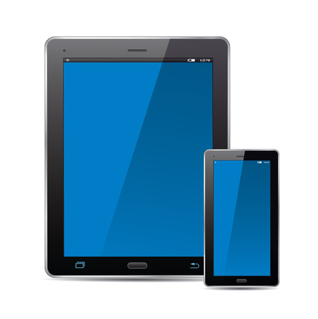 blue screen: Tablet, smart phone and blue screen. Vector Illustration.